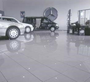 tiled floor car show room
